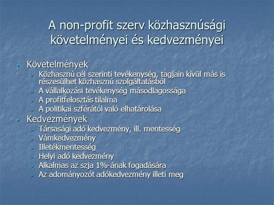 A non-profit szerv közhasznúsági követelményei és kedvezményei  Követelmények  Közhasznú cél szerinti tevékenység, tagjain kívül más is részesülhet