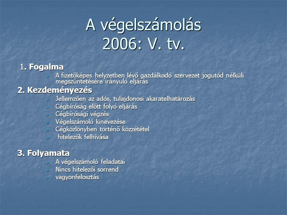 A végelszámolás 2006: V. tv. 1. Fogalma 1. Fogalma  A fizetőképes helyzetben lévő gazdálkodó szervezet jogutód nélküli megszűntetésére irányuló eljár