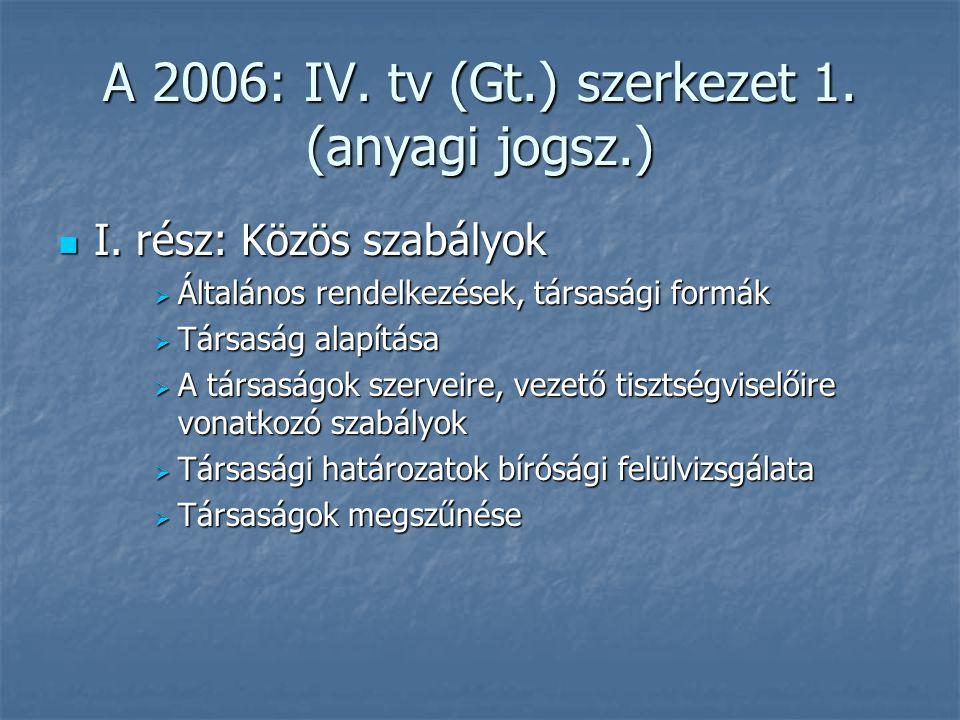 A 2006: IV. tv (Gt.) szerkezet 1. (anyagi jogsz.) I. rész: Közös szabályok I. rész: Közös szabályok  Általános rendelkezések, társasági formák  Társ