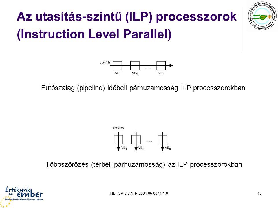 HEFOP 3.3.1–P-2004-06-0071/1.013 Az utasítás-szintű (ILP) processzorok (Instruction Level Parallel) Futószalag (pipeline) időbeli párhuzamosság ILP processzorokban Többszörözés (térbeli párhuzamosság) az ILP-processzorokban