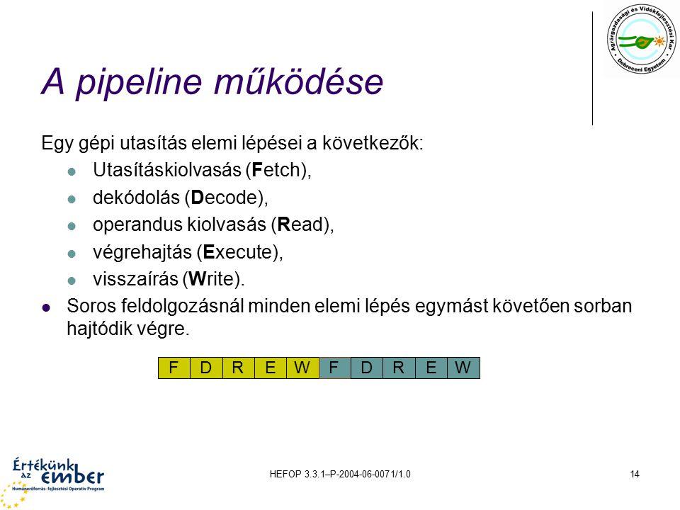 HEFOP 3.3.1–P-2004-06-0071/1.014 A pipeline működése Egy gépi utasítás elemi lépései a következők: Utasításkiolvasás (Fetch), dekódolás (Decode), operandus kiolvasás (Read), végrehajtás (Execute), visszaírás (Write).
