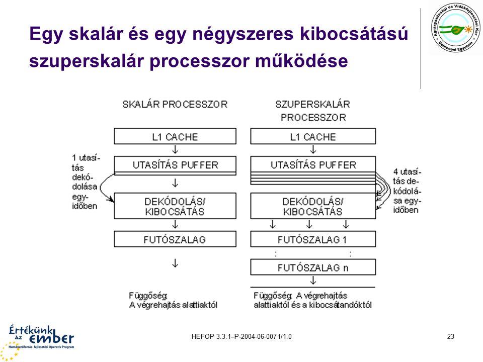 HEFOP 3.3.1–P-2004-06-0071/1.023 Egy skalár és egy négyszeres kibocsátású szuperskalár processzor működése