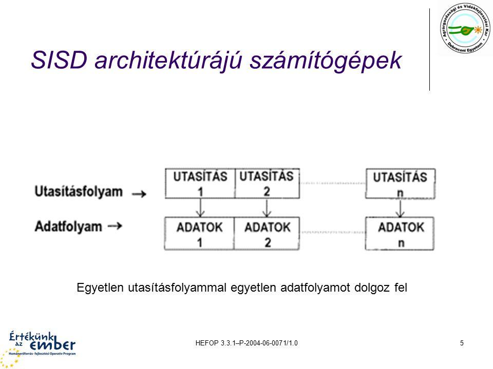 HEFOP 3.3.1–P-2004-06-0071/1.05 SISD architektúrájú számítógépek Egyetlen utasításfolyammal egyetlen adatfolyamot dolgoz fel