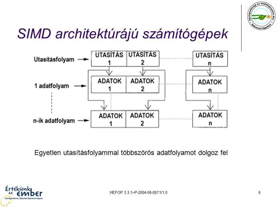 HEFOP 3.3.1–P-2004-06-0071/1.07 MISD architektúrájú számítógépek Több utasításfolyammal egyetlen adatfolyamot dolgoz fel