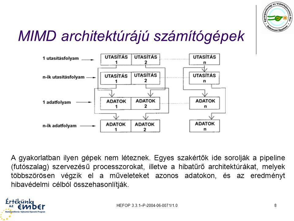 HEFOP 3.3.1–P-2004-06-0071/1.029 A VLIW-ek ma Bár úgy tünt, hogy a VLIW-ek a 90-as évek végén eltünnek el a számítástechnika színpadáról, azonban ma szinte reneszánszukat élik, számos beágyazott processzor és DSP (Digital Signal Processor) mellett általános célú processzorok is alkalmazzák a VLIW filozófiát.