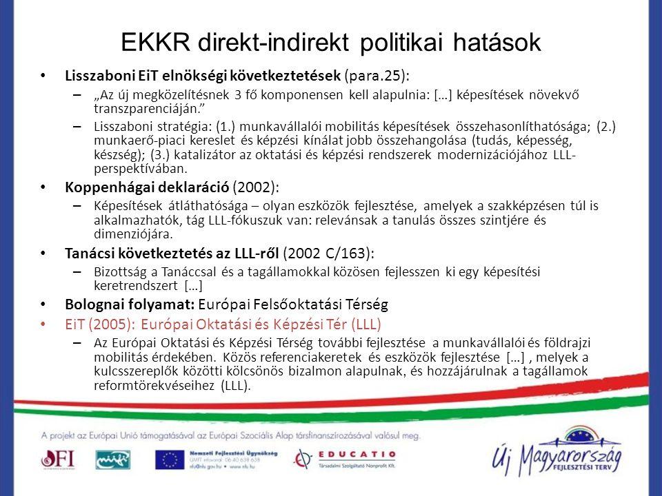 """EKKR direkt-indirekt politikai hatások Lisszaboni EiT elnökségi következtetések (para.25): – """"Az új megközelítésnek 3 fő komponensen kell alapulnia: ["""