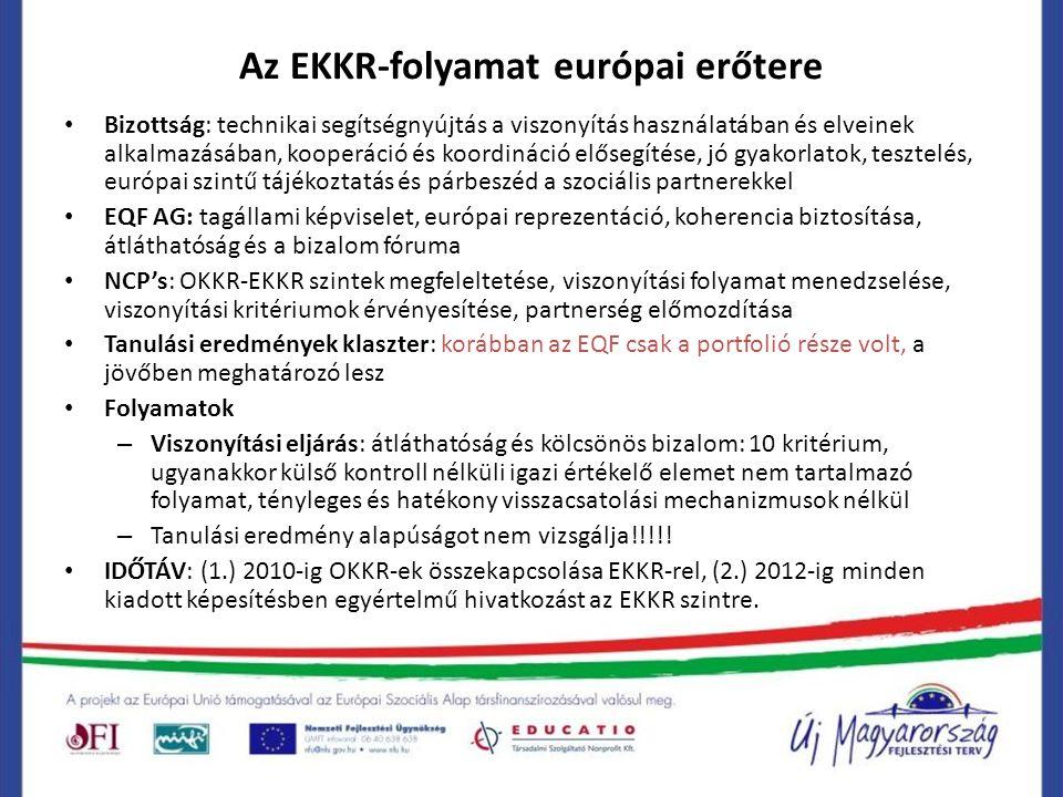 Az EKKR-folyamat európai erőtere Bizottság: technikai segítségnyújtás a viszonyítás használatában és elveinek alkalmazásában, kooperáció és koordináci