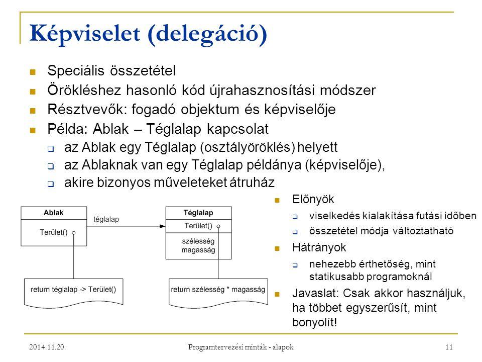 2014.11.20. Programtervezési minták - alapok 11 Képviselet (delegáció) Speciális összetétel Örökléshez hasonló kód újrahasznosítási módszer Résztvevők