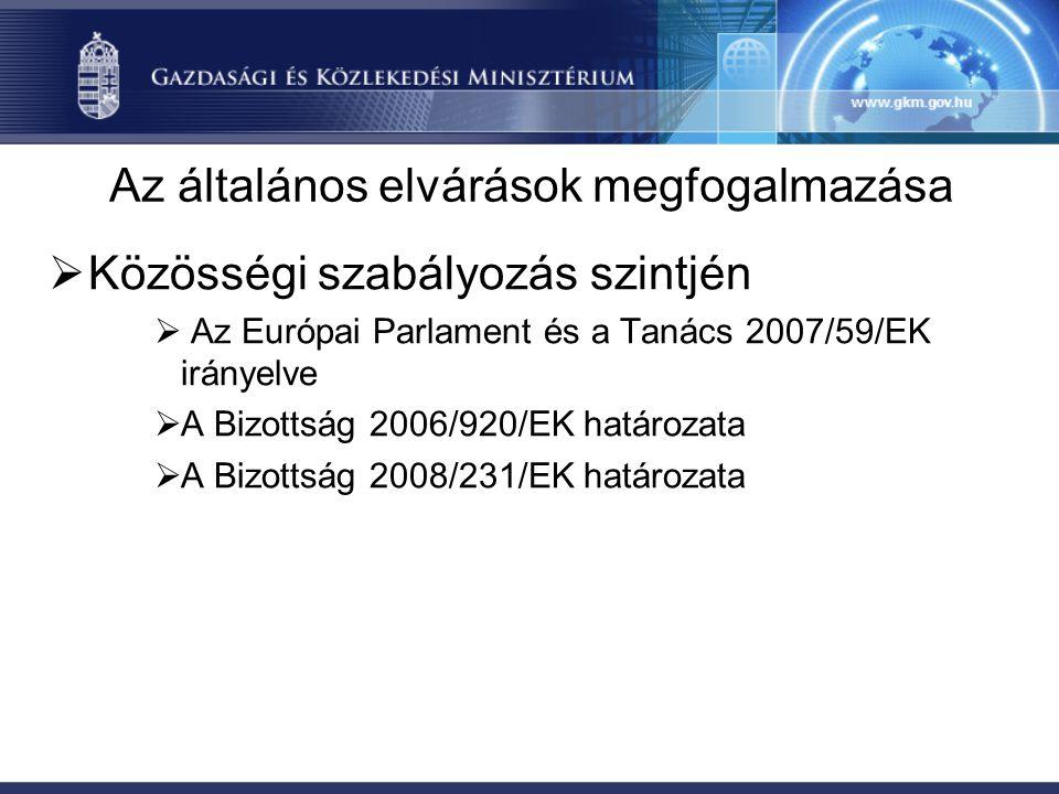 Az általános elvárások megfogalmazása  Közösségi szabályozás szintjén  Az Európai Parlament és a Tanács 2007/59/EK irányelve  A Bizottság 2006/920/EK határozata  A Bizottság 2008/231/EK határozata