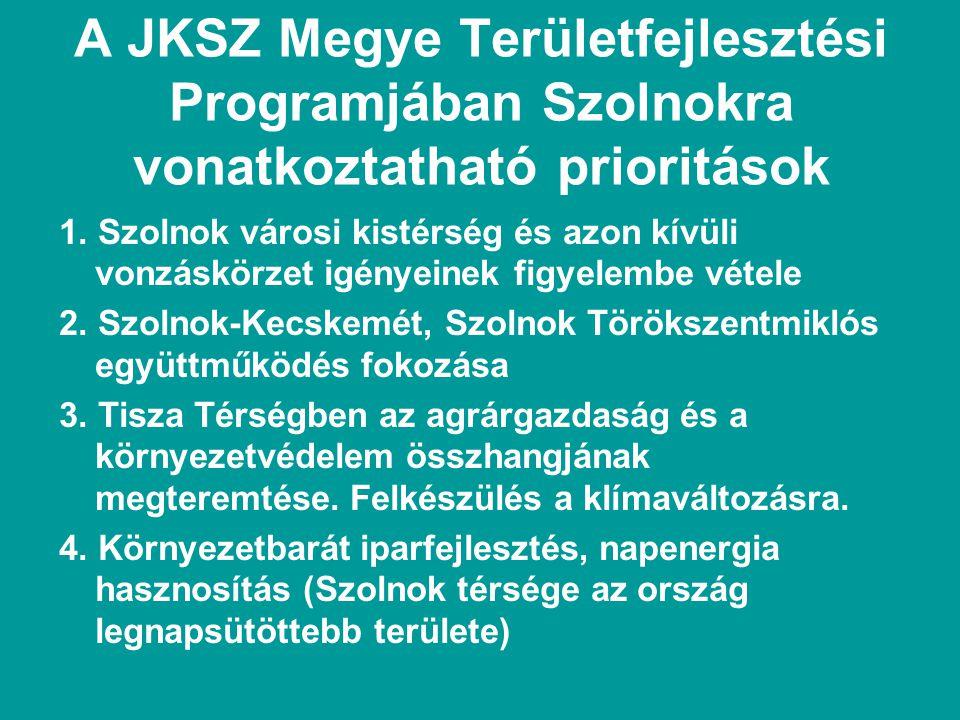 A JKSZ Megye Területfejlesztési Programjában Szolnokra vonatkoztatható prioritások 1.