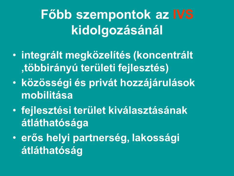 Főbb szempontok az IVS kidolgozásánál integrált megközelítés (koncentrált,többirányú területi fejlesztés) közösségi és privát hozzájárulások mobilitása fejlesztési terület kiválasztásának átláthatósága erős helyi partnerség, lakossági átláthatóság