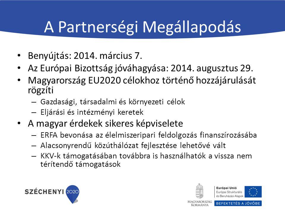 A Partnerségi Megállapodás Benyújtás: 2014. március 7. Az Európai Bizottság jóváhagyása: 2014. augusztus 29. Magyarország EU2020 célokhoz történő hozz