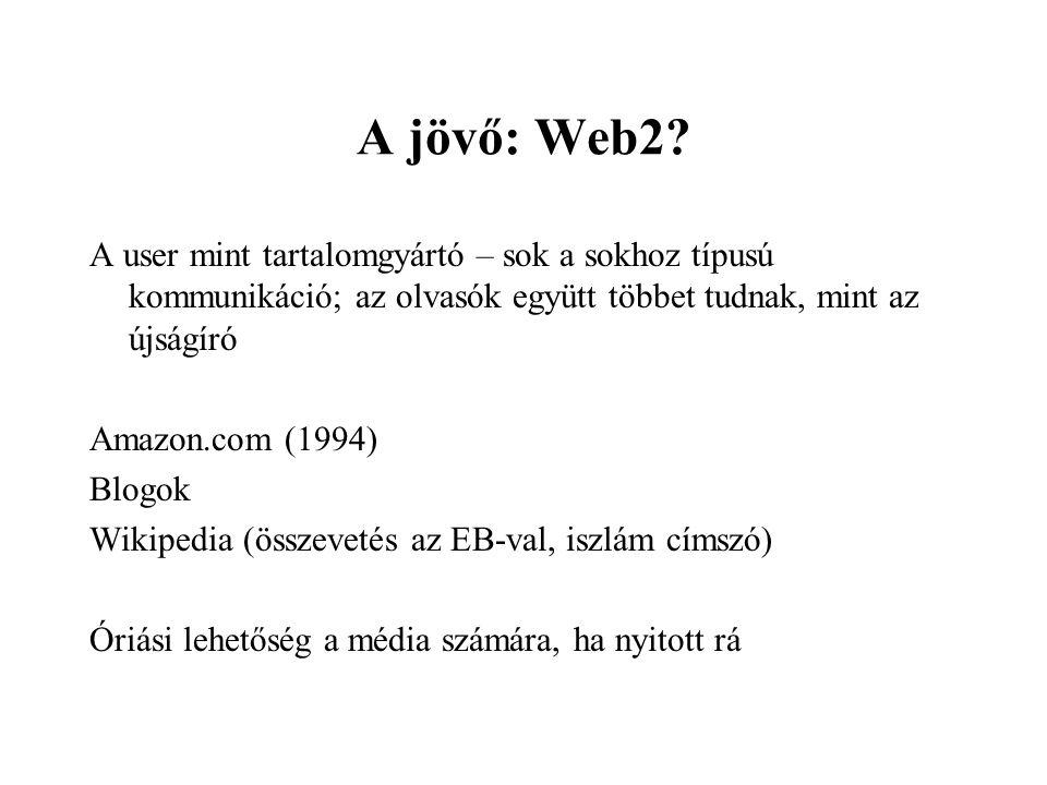 A jövő: Web2? A user mint tartalomgyártó – sok a sokhoz típusú kommunikáció; az olvasók együtt többet tudnak, mint az újságíró Amazon.com (1994) Blogo