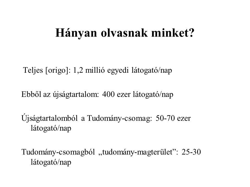 Hányan olvasnak minket? Teljes [origo]: 1,2 millió egyedi látogató/nap Ebből az újságtartalom: 400 ezer látogató/nap Újságtartalomból a Tudomány-csoma