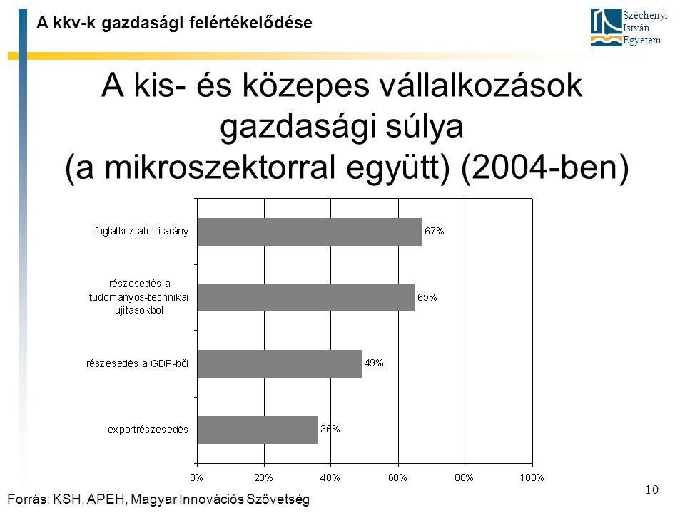 Széchenyi István Egyetem 10 A kis ‑ és közepes vállalkozások gazdasági súlya (a mikroszektorral együtt) (2004 ‑ ben) A kkv ‑ k gazdasági felértékelődé