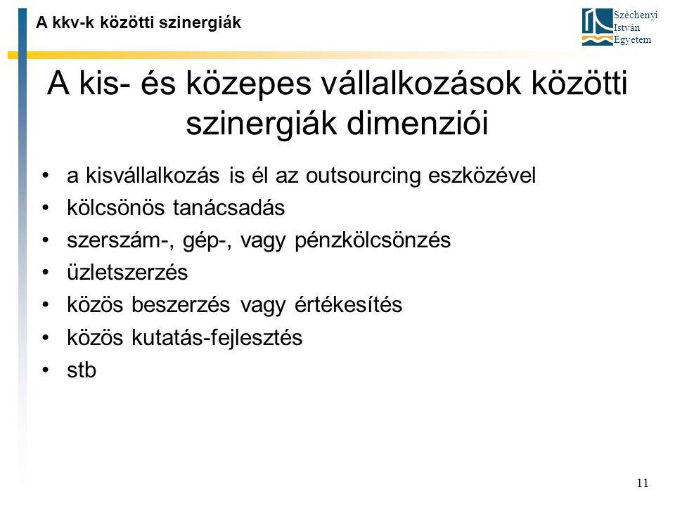 Széchenyi István Egyetem 11 A kis ‑ és közepes vállalkozások közötti szinergiák dimenziói A kkv-k közötti szinergiák a kisvállalkozás is él az outsour