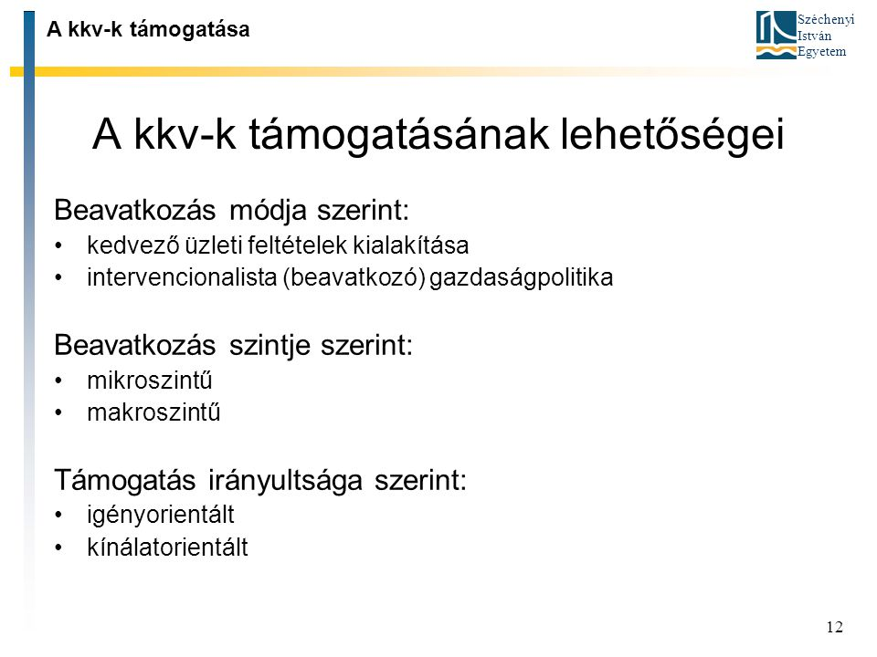 Széchenyi István Egyetem 12 A kkv-k támogatásának lehetőségei A kkv-k támogatása Beavatkozás módja szerint: kedvező üzleti feltételek kialakítása inte