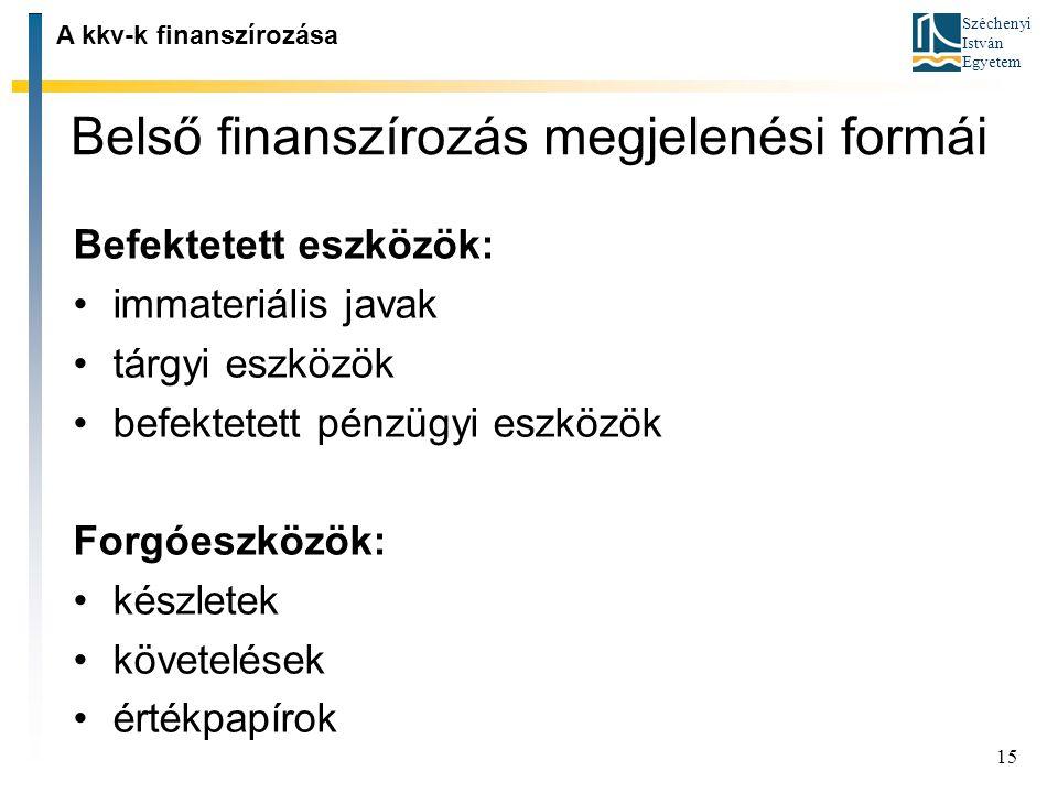 Széchenyi István Egyetem 15 Belső finanszírozás megjelenési formái A kkv-k finanszírozása Befektetett eszközök: immateriális javak tárgyi eszközök bef