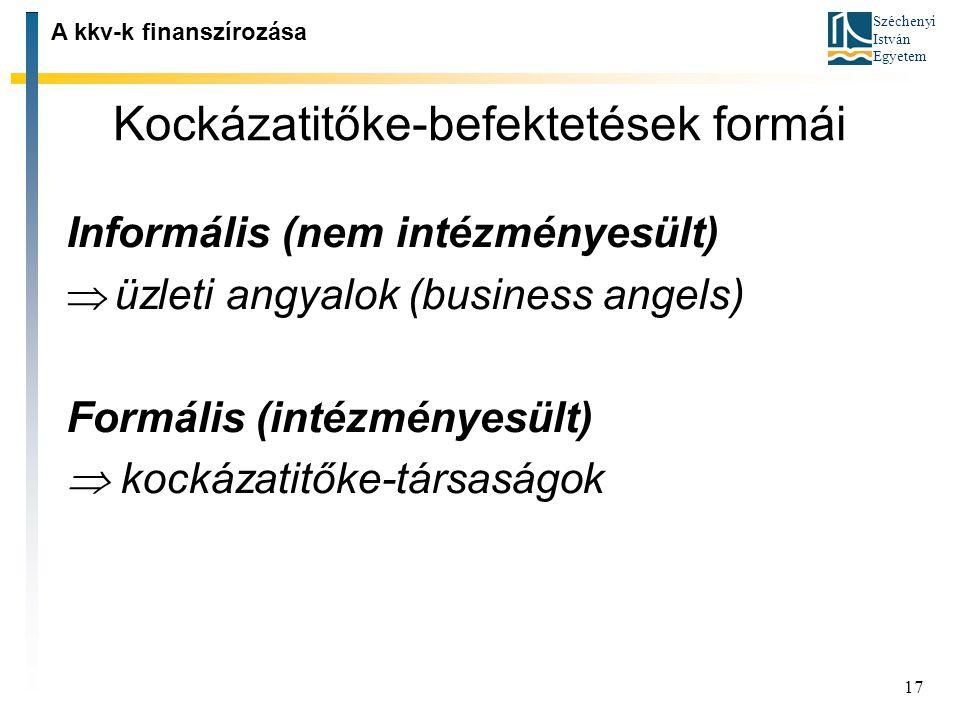 Széchenyi István Egyetem 17 Kockázatitőke ‑ befektetések formái A kkv-k finanszírozása Informális (nem intézményesült)  üzleti angyalok (business ang