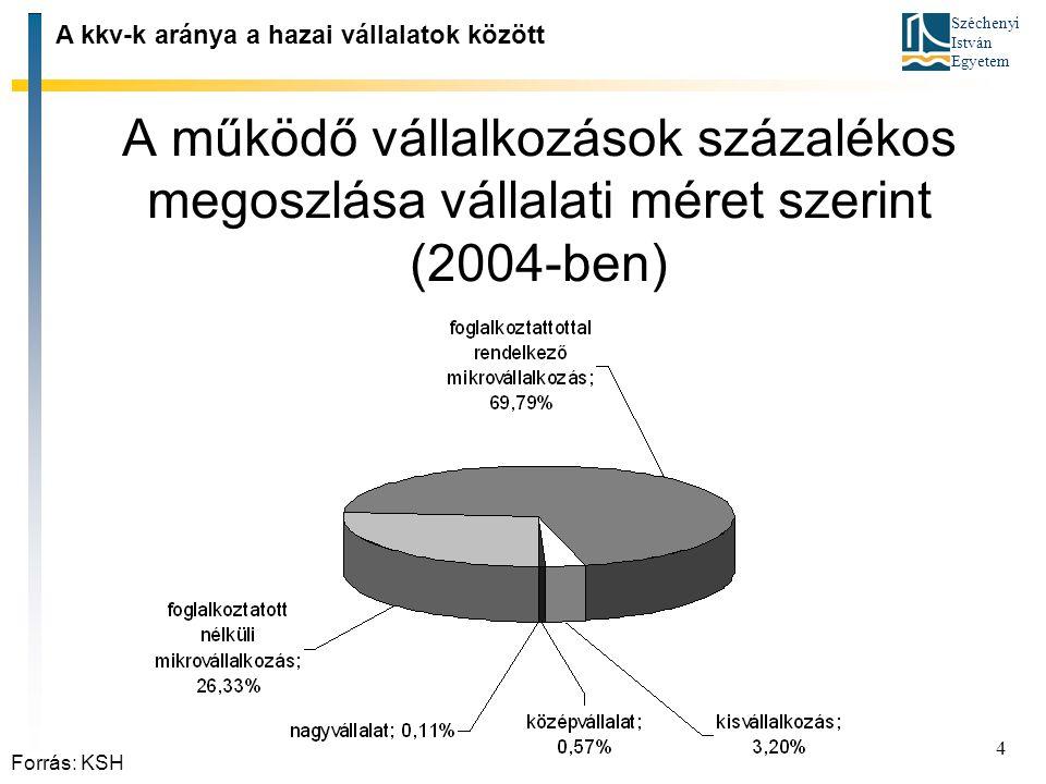 Széchenyi István Egyetem 4 A működő vállalkozások százalékos megoszlása vállalati méret szerint (2004 ‑ ben) A kkv ‑ k aránya a hazai vállalatok közöt
