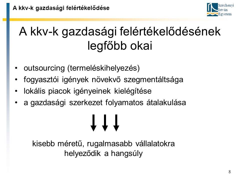 Széchenyi István Egyetem 8 A kkv ‑ k gazdasági felértékelődésének legfőbb okai A kkv ‑ k gazdasági felértékelődése outsourcing (termeléskihelyezés) fo