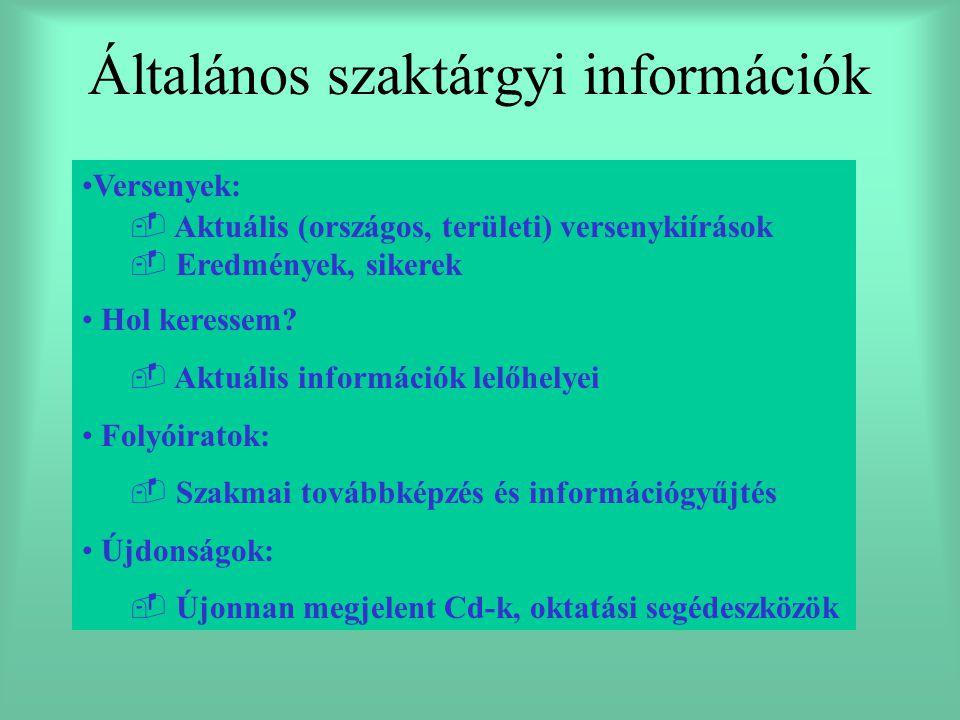 Általános szaktárgyi információk Versenyek:   Aktuális (országos, területi) versenykiírások   Eredmények, sikerek Hol keressem?   Aktuális infor