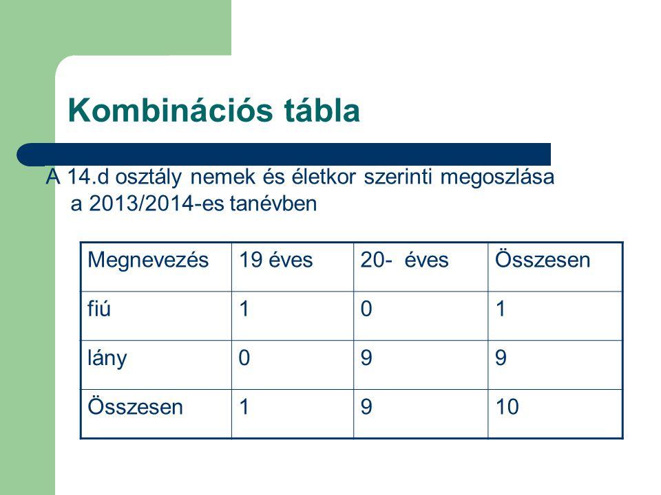 Kombinációs tábla A 14.d osztály nemek és életkor szerinti megoszlása a 2013/2014-es tanévben Megnevezés19 éves20- évesÖsszesen fiú101 lány099 Összese