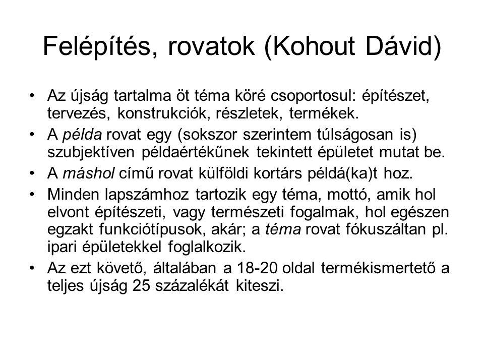 Felépítés, rovatok (Kohout Dávid) Az újság tartalma öt téma köré csoportosul: építészet, tervezés, konstrukciók, részletek, termékek. A példa rovat eg