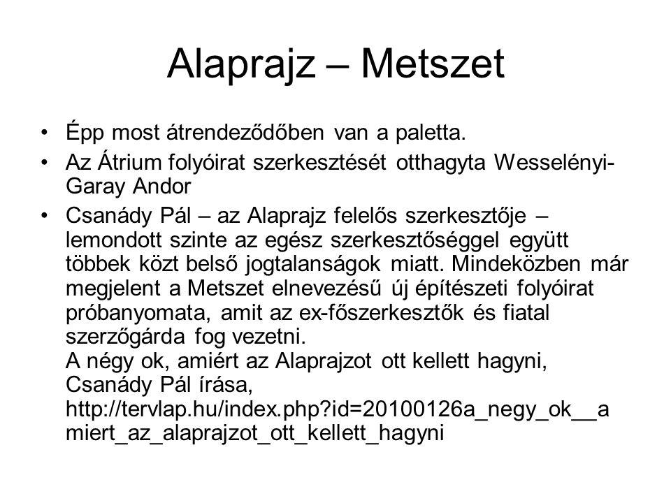 Alaprajz – Metszet Épp most átrendeződőben van a paletta. Az Átrium folyóirat szerkesztését otthagyta Wesselényi- Garay Andor Csanády Pál – az Alapraj