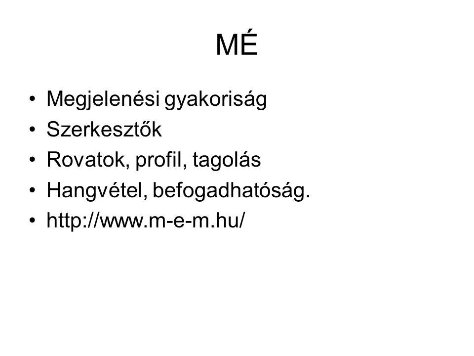 MÉ Megjelenési gyakoriság Szerkesztők Rovatok, profil, tagolás Hangvétel, befogadhatóság. http://www.m-e-m.hu/