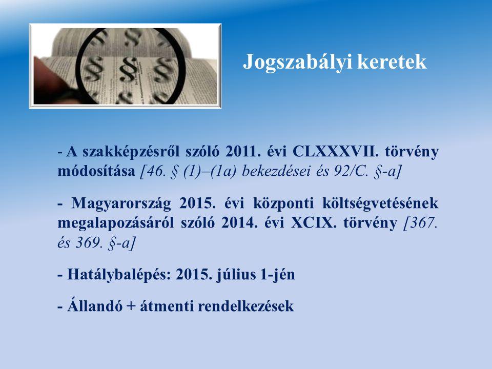 Jogszabályi keretek - A szakképzésről szóló 2011. évi CLXXXVII. törvény módosítása [46. § (1)–(1a) bekezdései és 92/C. §-a] - Magyarország 2015. évi k