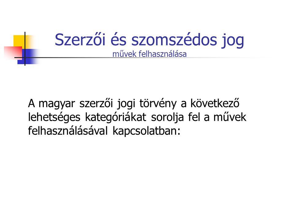 Szerzői és szomszédos jog művek felhasználása A magyar szerzői jogi törvény a következő lehetséges kategóriákat sorolja fel a művek felhasználásával k