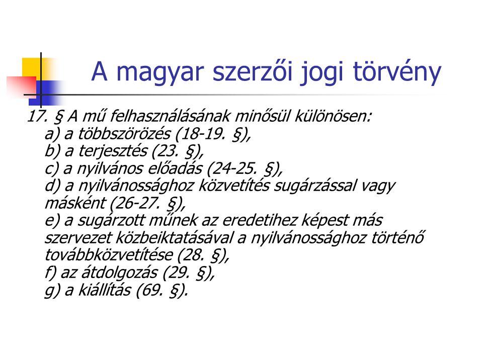 A magyar szerzői jogi törvény 17. § A mű felhasználásának minősül különösen: a) a többszörözés (18-19. §), b) a terjesztés (23. §), c) a nyilvános elő