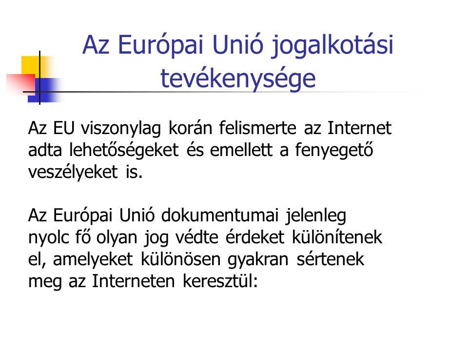 Az Európai Unió jogalkotási tevékenysége Az EU viszonylag korán felismerte az Internet adta lehetőségeket és emellett a fenyegető veszélyeket is. Az E