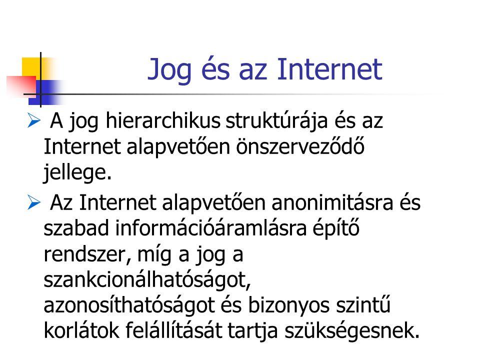 Jog és az Internet  A jog hierarchikus struktúrája és az Internet alapvetően önszerveződő jellege.  Az Internet alapvetően anonimitásra és szabad in