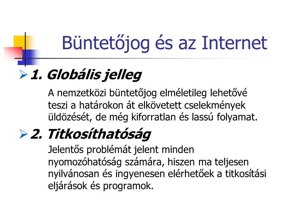 Büntetőjog és az Internet  1. Globális jelleg A nemzetközi büntetőjog elméletileg lehetővé teszi a határokon át elkövetett cselekmények üldözését, de