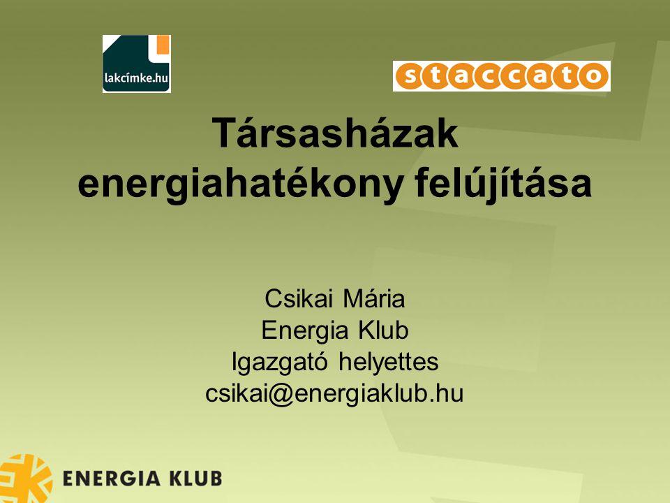 Társasházak energiahatékony felújítása Csikai Mária Energia Klub Igazgató helyettes csikai@energiaklub.hu