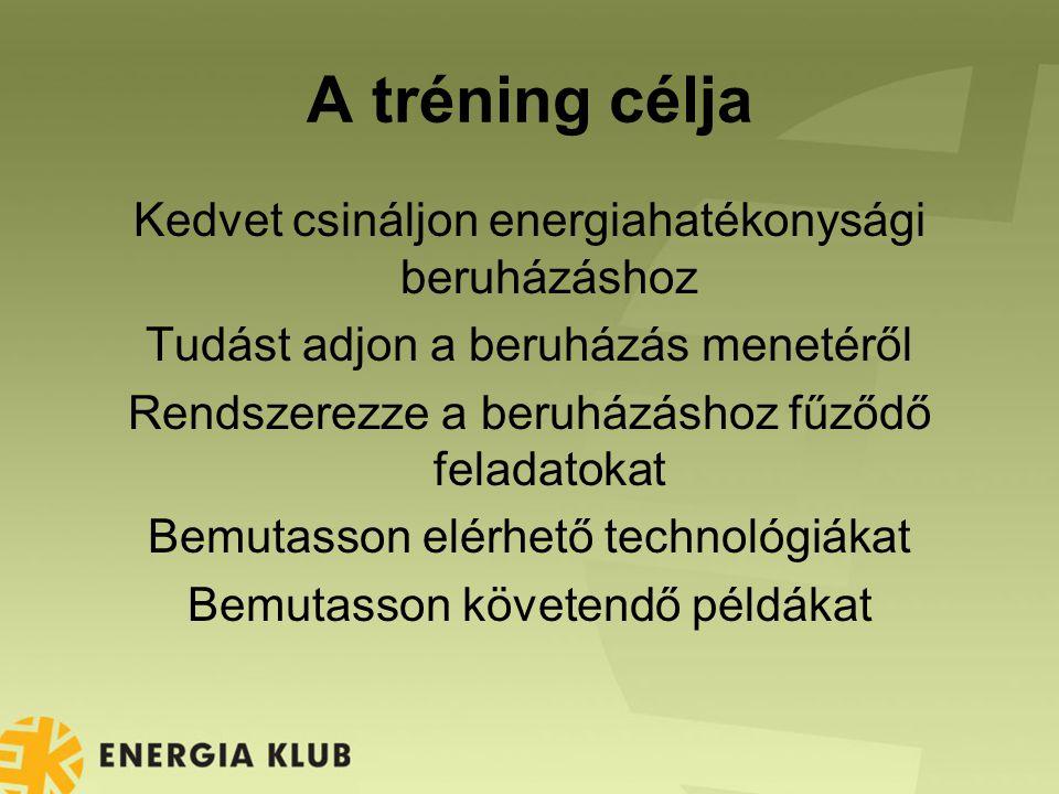 A tréning célja Kedvet csináljon energiahatékonysági beruházáshoz Tudást adjon a beruházás menetéről Rendszerezze a beruházáshoz fűződő feladatokat Bemutasson elérhető technológiákat Bemutasson követendő példákat