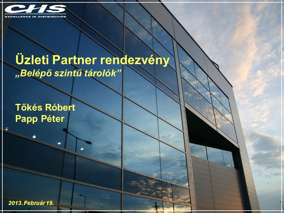 """Üzleti Partner rendezvény """"Belépő szintű tárolók Tőkés Róbert Papp Péter 2013. Február 19."""
