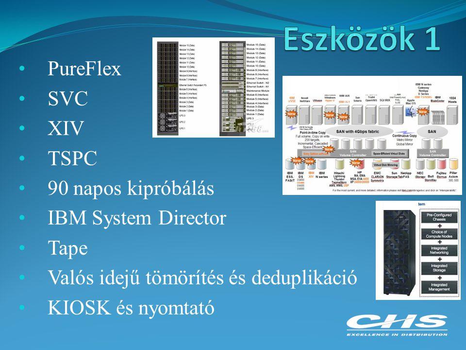 PureFlex SVC XIV TSPC 90 napos kipróbálás IBM System Director Tape Valós idejű tömörítés és deduplikáció KIOSK és nyomtató
