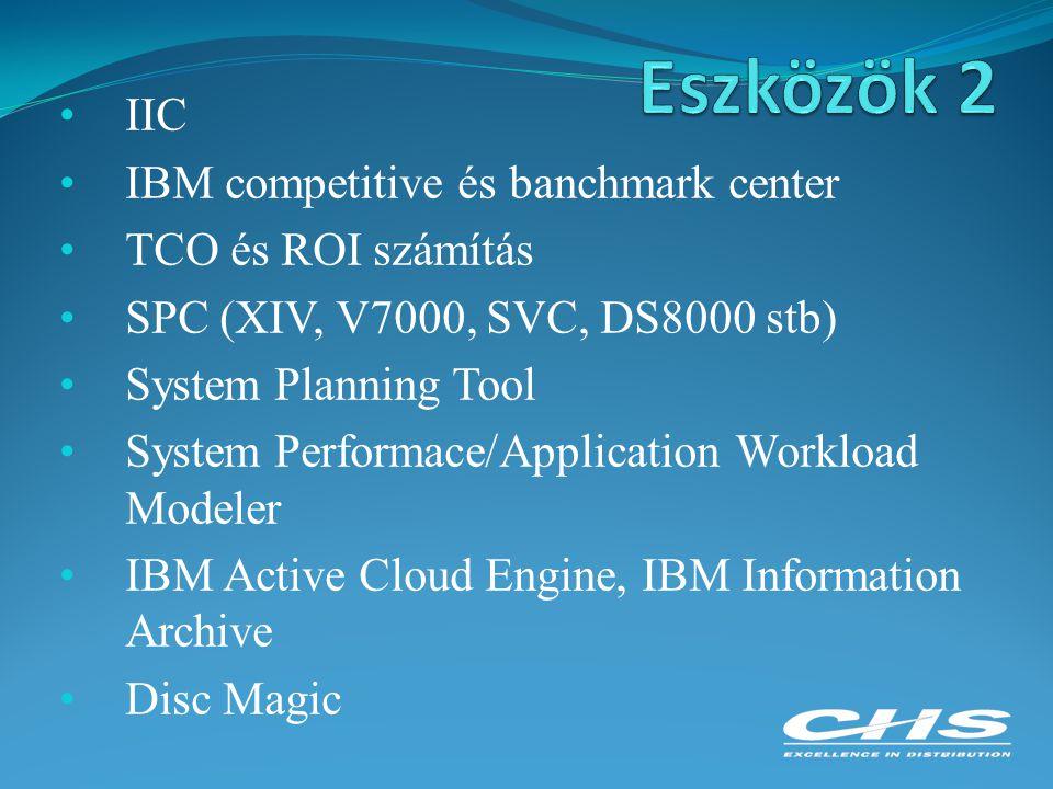 IIC IBM competitive és banchmark center TCO és ROI számítás SPC (XIV, V7000, SVC, DS8000 stb) System Planning Tool System Performace/Application Workl