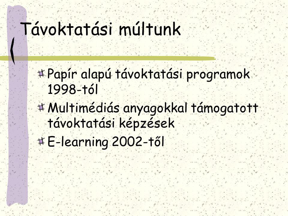 Távoktatási múltunk Papír alapú távoktatási programok 1998-tól Multimédiás anyagokkal támogatott távoktatási képzések E-learning 2002-től