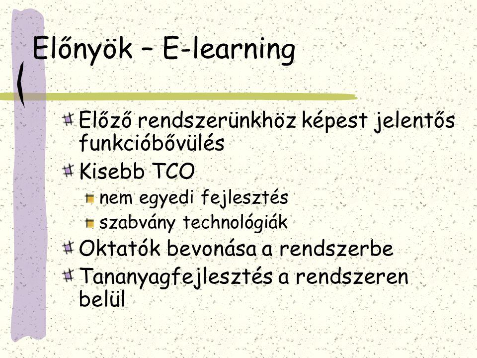 Előnyök – E-learning Előző rendszerünkhöz képest jelentős funkcióbővülés Kisebb TCO nem egyedi fejlesztés szabvány technológiák Oktatók bevonása a rendszerbe Tananyagfejlesztés a rendszeren belül