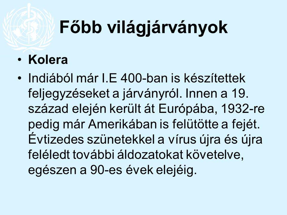 Főbb világjárványok Kolera Indiából már I.E 400-ban is készítettek feljegyzéseket a járványról. Innen a 19. század elején került át Európába, 1932-re