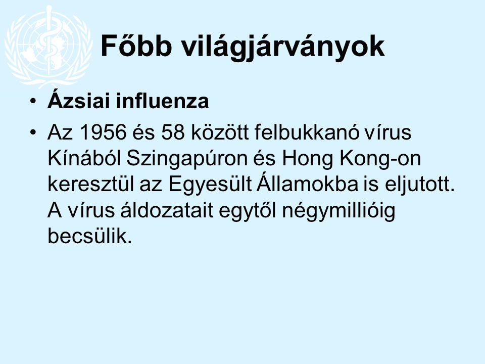 Főbb világjárványok Ázsiai influenza Az 1956 és 58 között felbukkanó vírus Kínából Szingapúron és Hong Kong-on keresztül az Egyesült Államokba is elju