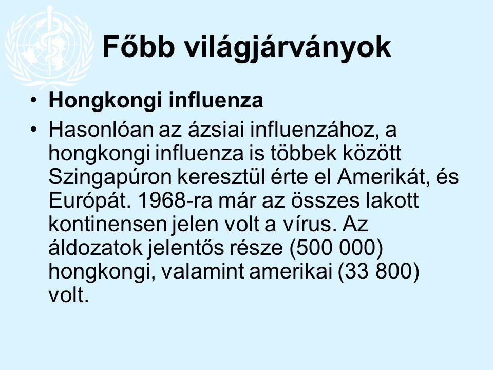 Főbb világjárványok Hongkongi influenza Hasonlóan az ázsiai influenzához, a hongkongi influenza is többek között Szingapúron keresztül érte el Ameriká