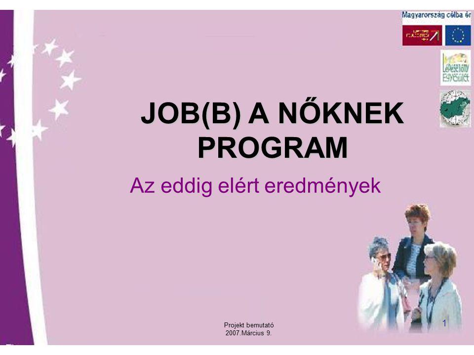 Projekt bemutató 2007.Március 9. 1 JOB(B) A NŐKNEK PROGRAM Az eddig elért eredmények
