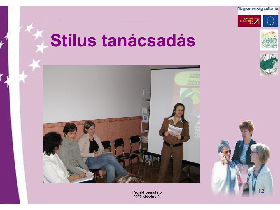 Projekt bemutató 2007.Március 9. 12 Stílus tanácsadás