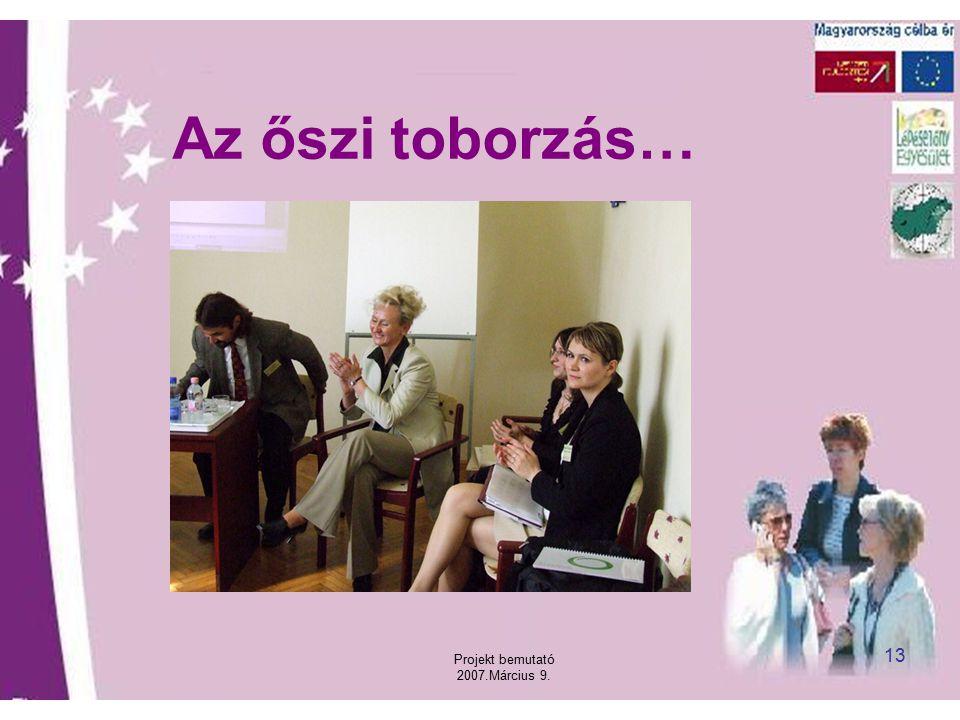 Projekt bemutató 2007.Március 9. 13 Az őszi toborzás…