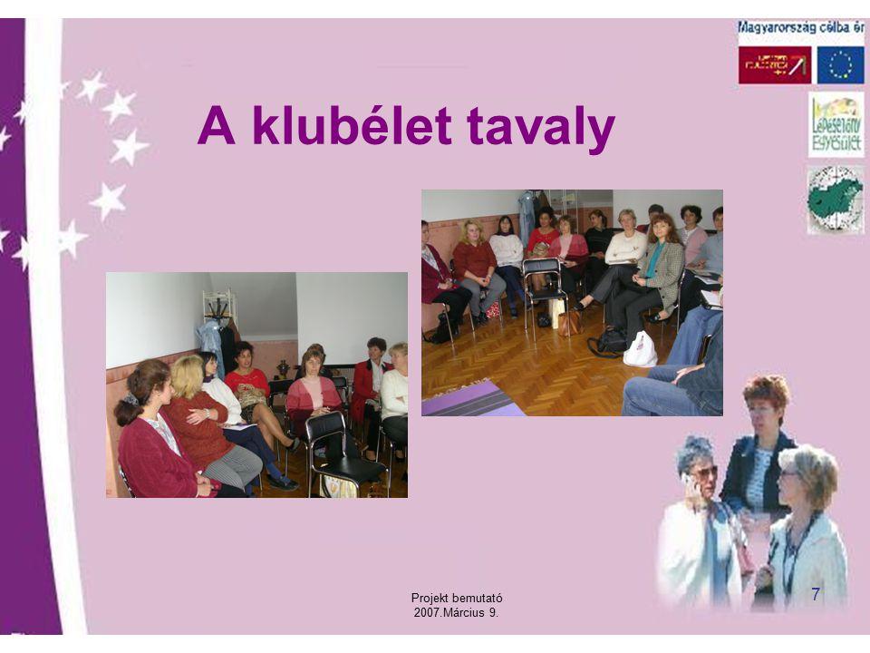 Projekt bemutató 2007.Március 9. 7 A klubélet tavaly